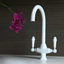 Luxury White Traditional Twin Duel Lever Kitchen Sink Basin Mixer Tap - (A06W)
