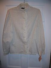 NWT Vintage Panter Size 17 Polka Dot Button Down Career Blouse Long Sleeve