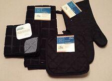 Kitchen Accessory Set Towel Dish Cloth Scrubbie Pot Holder Oven Mitt Black NEW