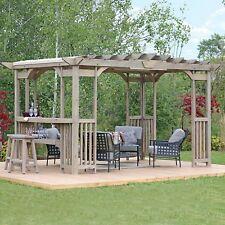 Large Outdoor Cedar Wood 14' x 10' Pergola Gazebo Pavilion w/ Outdoor Tiki Bar