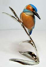 More details for nature's realm from arora - chrome & enamal bird figurine - kingfisher