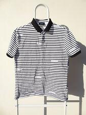 Armani Jeans White Black Striped Polo Shirt Short Sleeve Logo print Large