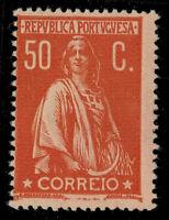 PORTUGAL 1912 50C Orange on Pink CERES Porcelana Paper Perf. 15 x 14 [CE219b] NH