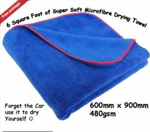 2 X Extra Large Soft Microfibre Car Drying Towel 60cm x 90cm  Detailing Cloth