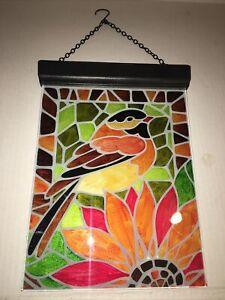 "solar suncatcher glass panel mosiac robin sunflower 11"""