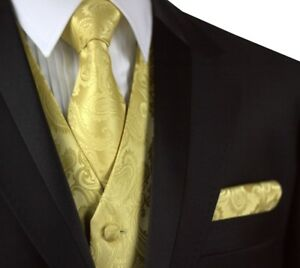 MEN'S GOLD PAISLEY FORMAL TUXEDO VEST, TIE & HANKIE SET. WEDDING, FORMAL, PROM