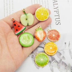 16PCS Assorted Fruit Slices Watermelon Orange Enamel Charms Pendant DIY Findings