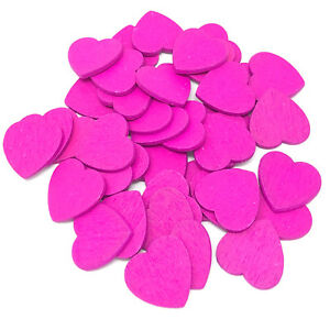 Bright Pink 18mm Love Hearts Wooden Shabby Chic Craft Scrapbook Vintage Hearts