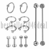 12PCS CZ Stainless Industrial Barbell Earrings Hoop Helix Tragus Labret Piercing