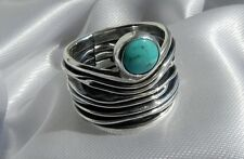 DIVINE! unusual, wide 8g sterling silver 925 Mexico signed turquoise ring size K