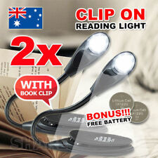 2x Portable Travel Flexible Neck LED Clamp Clip-On Reading Book Light Lamp