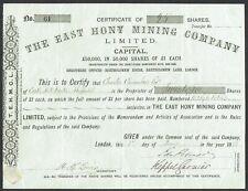 Share certificate (Cornwall, UK) East Hony Mining Co., Ltd. (1882)