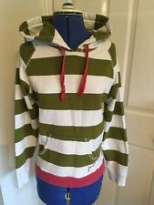 Ladies JOULES green White Striped Hoody Hoodie Size 8
