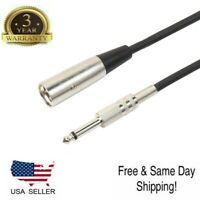 "6ft XLR 3-Pin male to 1/4"" Mono Plug Shielded Microphone Mic Audio Cable Cord"