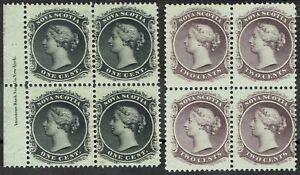 NOVA SCOTIA 1860 QV 1C AND 2C */** BLOCKS WHITE PAPER