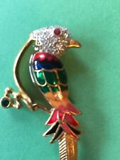 Crystal encrusted and enamel parrot brooch large 3-1/2""