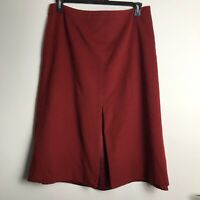 Jaeger Size 14 Red Wool/Angora Blend A-Line Front Split Skirt
