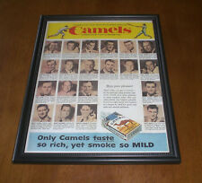 Camels Cigarettes Framed Color Ad Print - Top Ball Players Smoke Camels