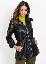 Glossy Black Hooded Parka Style Rain Jacket size 10