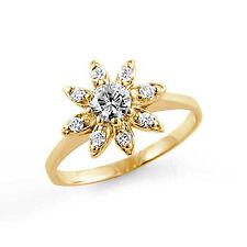 0.41 Ct Round Flower Diamond Engagement Anniversary Wedding Ring 14k Gold Yellow