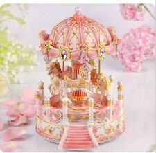 PINK house Carousel Music Box /MERRY-GO-ROUND Classic Music box with  29 SONGs