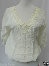 **TEMT** Embroidered V Neck Tunic Boho Top 10 Blouse Lace S White
