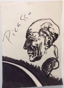 "Vintage Drago Marin Predrag Drawing ""Picasso"" - Unframed"