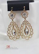 Boucles d`Oreilles Clips Gros Goutte Doré Mini Perle Blanc Baroque Mariage A10