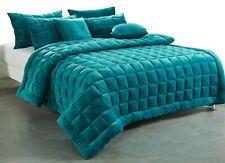 Plush Augusta Faux Mink Comforter Set   Quilt Set   300gsm Fill   Emerald Green