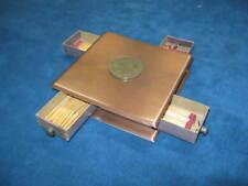 VTG Mid-Century Bronze Tone Metal MATCHBOX HOLDER..4 Match Drawers w/Brass Knobs