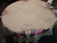 "Viintage Tan Heavy Cotton TABLECLOTH  Round 58"" Diameter w/Fruit Embroidery"