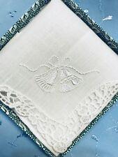 Personalised Irish Linen Ladies Wedding Bells Bridal Handkerchief Boxed