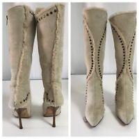 Jimmy Choo- Beige Suede Shearling Studded  High Heel Knee Boots Sz 37.5 zipper