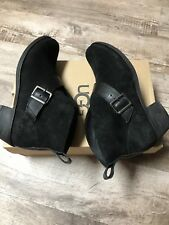 Ugg W Wright Belted Black Suede Bootie 6