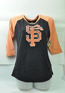 MLB San Francisco Giants Red Jacket Women Medium TShirt Half Sleeve Black Faded