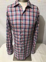 PETER MILLAR Men's Check Button Front Long Sleeve Dress Shirt  Sz Large L