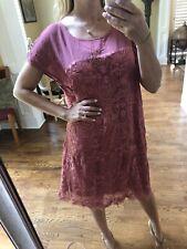 Sundance Rayon  Viv Day Shift Dress Embroi XL NWT $138 Rose Pink Summer New