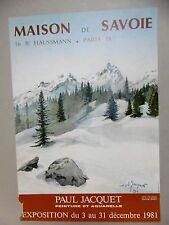 Affiche originale Paul JACQUET Savoie Montagne Neige Sapins 1981