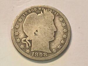 1898-O United States Barber Silver Quarter Dollar 25c Coin