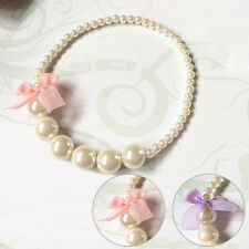 Kids Party Jewelry Princess Girl Imitation Pearls Necklace For Baby Toddler-Pink