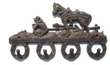 Vtg Cast Iron HORSE SHOE COWBOY / WESTERN RANCH Coat Key Hat Wall Hanger Holder