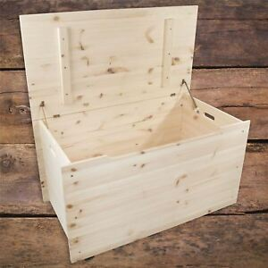 XXLarge Wooden Storage Chest Toy Box Bedroom Trunk / Unpainted Pine For Craft