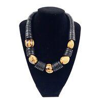 Womens Black Wood Bead Disc Nut Graduated Necklace Chunky Natural Earthy Boho