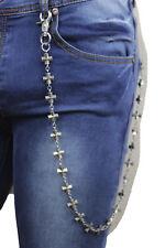 New Men Silver Metal Fashion Jewelry Wallet Chain Cross Charms Biker Trucker