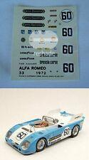 DECALS 1/43 Alfa Romeo 33.3 TT Scuderia Brescia Corse 24h LE MANS 1973