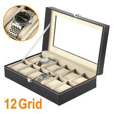 Nuevo 12 reloj de cuero caso de exhibición Caja rejillas colección de joyas organizador de almacenamiento de información