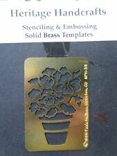 PAULA HALLINAN solid brass embossing stencil template potted flowers pansies
