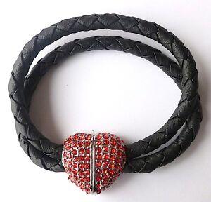 Modearmband * Magnetverschluss Herz* Damenarmband funkelndes rotes Herz #Schmuck