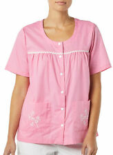 AmeriMark Women's Snap Front Smock Top Apron Scrubs Short Sleeves Patch Pockets
