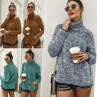 Womens High Neck Fuzzy Fleece Knit Sweatshirt Jumpers Pullover Sweater Knitwear